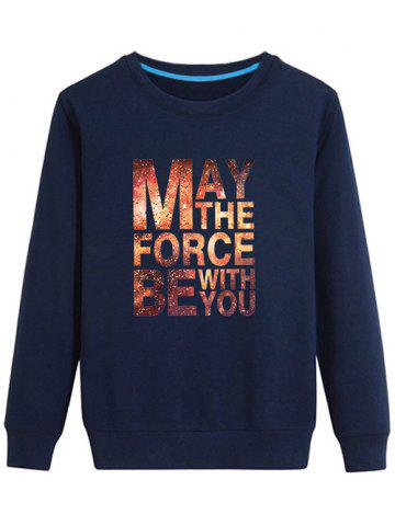 Sale Long Sleeves Graphic Sweatshirt - L CADETBLUE Mobile