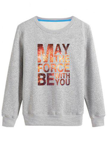 Outfits Long Sleeves Graphic Sweatshirt - L GRAY Mobile