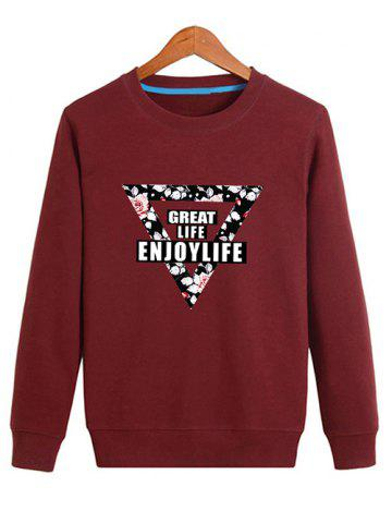 Affordable Floral Inverted Triangle Printed Pullover Sweatshirt - L DEEP RED Mobile