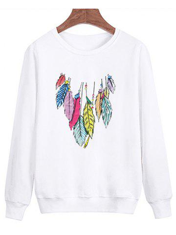 Trendy Feather Printing Crew Neck Sweatshirt - S WHITE Mobile