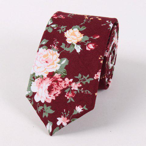 Cheap Vintage Floral Printed Cotton Neck Tie WINE RED