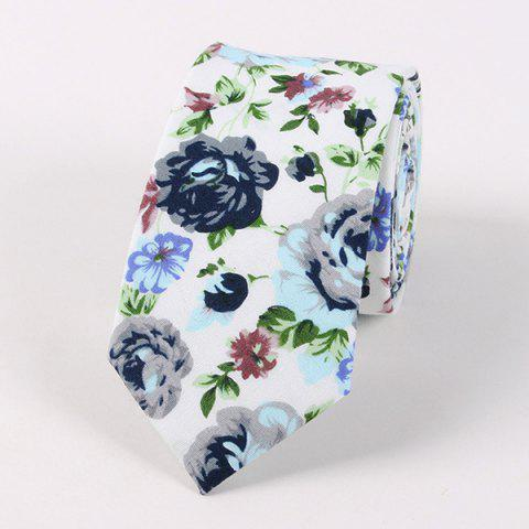 Flower Shivering Pattern Neck Tie - White