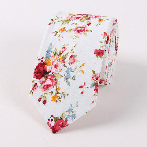 6CM Width Little Flower Printed Neck Tie - Red