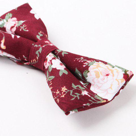 Outfit Flower Shivering Pattern Bow Tie - RED  Mobile