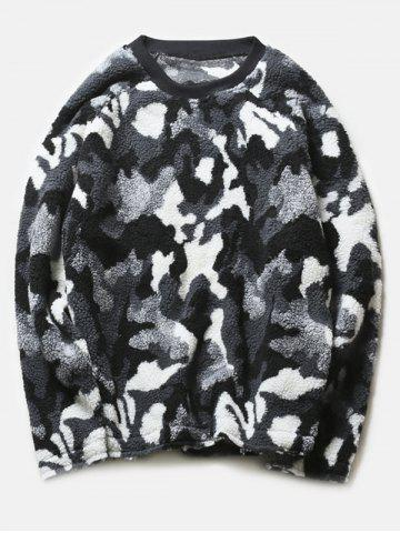 Sale Crew Neck Camouflage Thicken Long Sleeve Fleece Black and White Sweatshirt