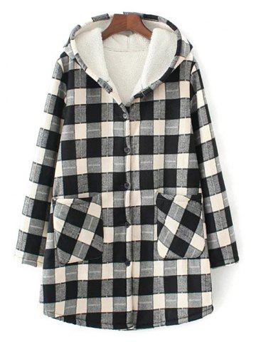 Shops Hooded Checked Borg Lined Coat WHITE AND BLACK 3XL
