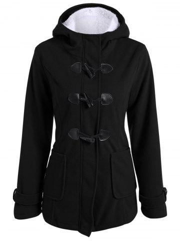 Zip Up Coat Fleece Duffle Hooded Noir L