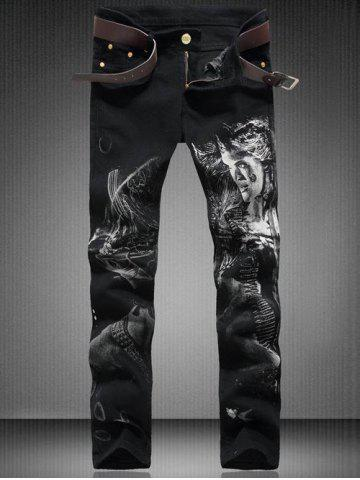 Discount Zip Fly Straight Leg Graphic Jeans