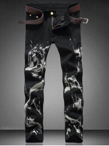 Affordable Zipper Fly Straight Wolf Graphic Jeans - 34 BLACK Mobile