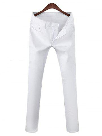 Trendy Mid Rise Zipper Fly Pocket Casual Pants