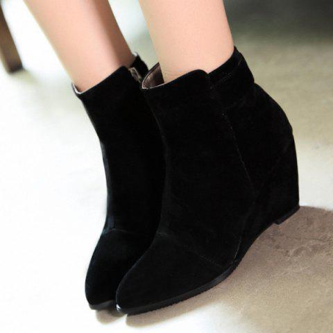 Sale Pointed Toe Flock  Wedge Heel Boots
