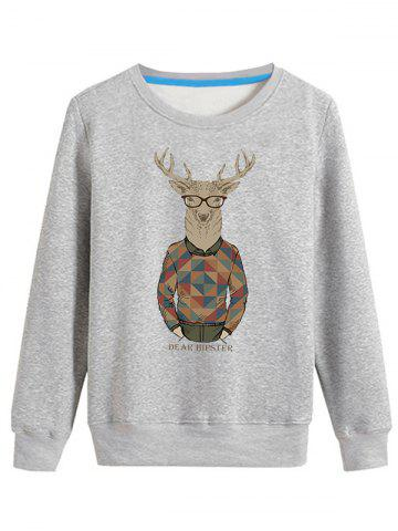 Outfits Cartoon Elk Print Crew Neck Long Sleeve Sweatshirt GRAY 4XL