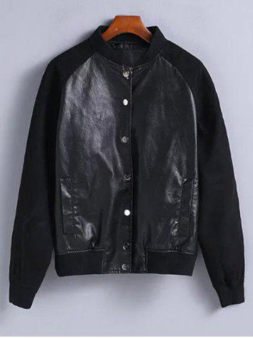 Shop Suede Sleeves PU Leather Bomber Jacket