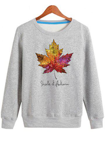 Shop Long Sleeve Maple Leaf Print Sweatshirt - L GRAY Mobile