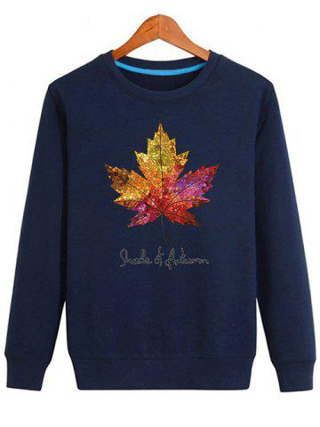 Store Long Sleeve Maple Leaf Print Sweatshirt - XL CADETBLUE Mobile