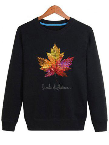 Cheap Long Sleeve Maple Leaf Print Sweatshirt - 4XL BLACK Mobile