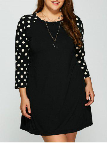 Buy Plus Size Polka Dot Panel Short Dress BLACK XL