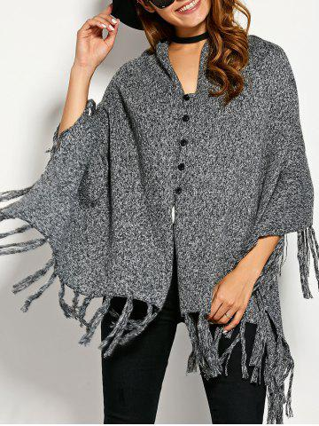 Single Breasted Asymmetric Cape Tassels Cardigan - Gray - One Size