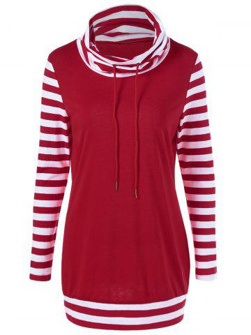 Cowl Neck Drawstring Striped Sleeve Tee - RED/WHITE XL