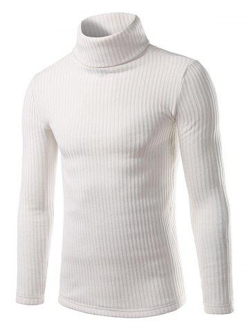 Cheap Ribbed Turtleneck Pullover Sweater WHITE 2XL