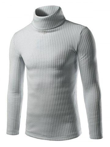 Ribbed Turtleneck Pullover Sweater - Light Gray - M