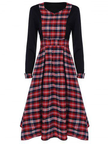 Discount Scottish Plaid Patch Design Long Sleeve Vintage Dress RED WITH BLACK 2XL