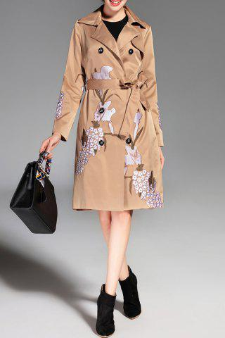 Button Down Embroidered Trench Coat with Belt