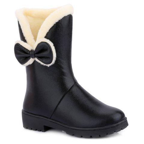 Shops Fuzzy Bowknot PU Leather Short Boots