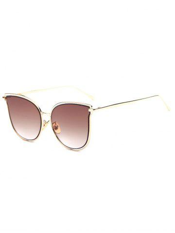 Travel Hollow Out Double Frames Butterfly Shaped Sunglasses - Tea-colored