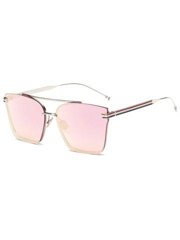 Unique Travel Striped Metal Leg Square Mirrored Sunglasses BABY PINK