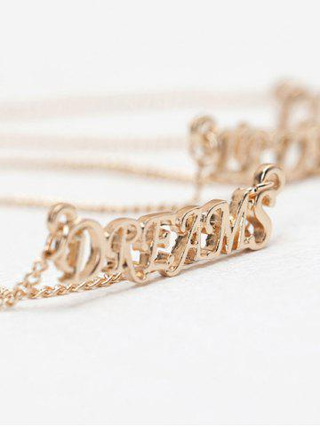 Shop Three Layers Letter Pendant Necklace - GOLDEN  Mobile