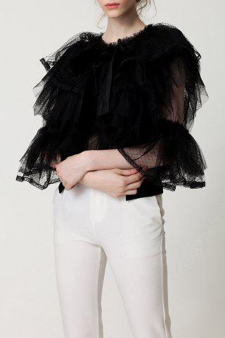 Outfits See-Through Bowknot Blouse BLACK S