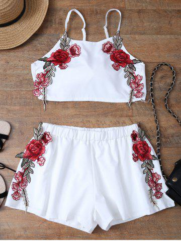 Outfits Floral Embroidered Bowknot Top with Flowery Shorts