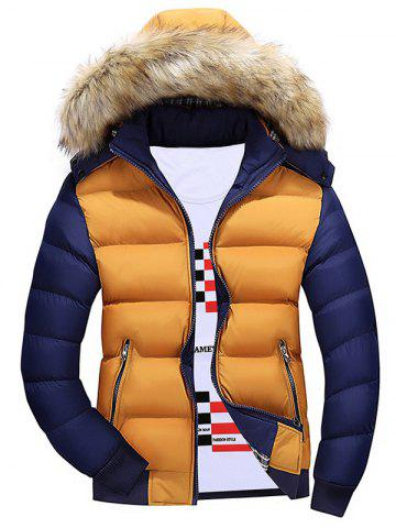 Color Block Quilted Jacket with Fur Trim Hood - Yellow - M
