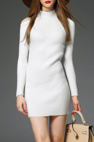 Mini Mock Neck Ribbed Knit Dress - White - One Size