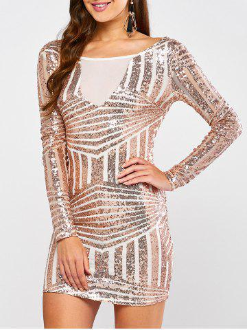 Discount Low Back Sequin Long Sleeve Bodycon Mini Dress GOLD AND WHITE S