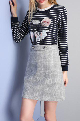 Sale A Line Mini Plaid Skirt LIGHT GREY S