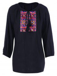 Tie Front Embroidery Peasant Blouse -