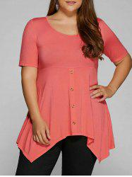 Plus Size Empire Waist Asymmetrical T-Shirt