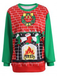 3D Christmas Print Color Block Sweatshirt - RED AND GREEN ONE SIZE