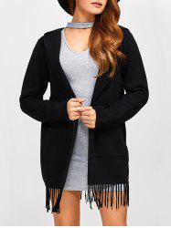 Pocket Fringe Hooded Cardigan -