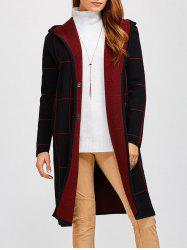 Plaid Fleece Hooded Cardigan