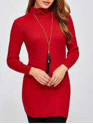 Skinny Ribbed Knit Sweater Dress -