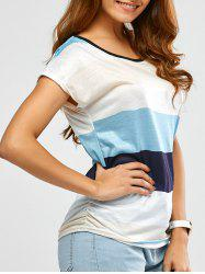 Draped Color Block Striped Top