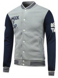 Letter Print Color Block Baseball Jacket - BLUE+GRAY