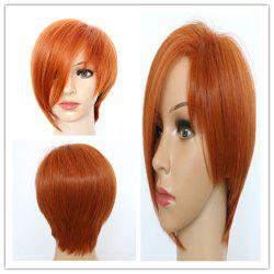 Vogue Short Fluffy Auburn Brown Side Bang Women's Synthetic Hair Wig -