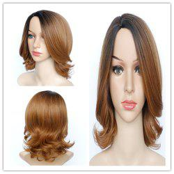 Graceful Medium Fluffy Mixed Color Wavy Side Parting Women's Synthetic Hair Wig