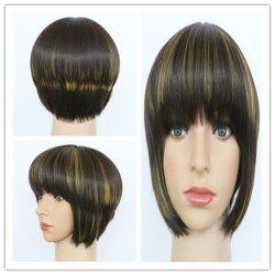 Refreshing Short Straight Full Bang Mixed Color Women's Synthetic Hair Wig