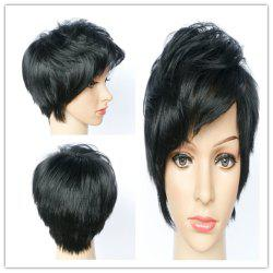 Stylsih Short Boy Cut Synthetic Black Straight Capless Wig For Women