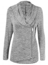 Plus Size Side Zipper Heather Long Jacket -